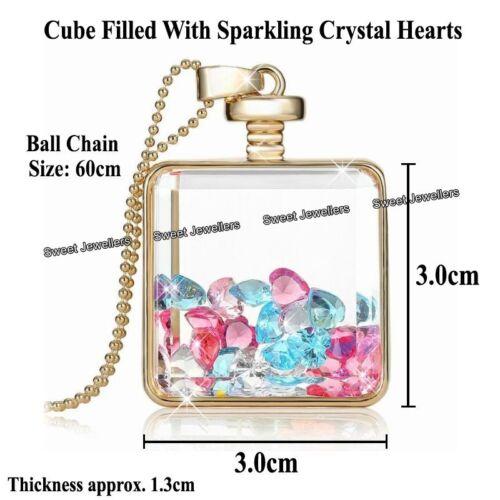 Cristales de corazón y oro Cubo Colgante Collar-Navidad Joyería Regalos Para Ella para Mujer