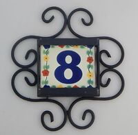 Mexican House Number Talavera Tile Home Address & Horizontal Iron Frame Flowers