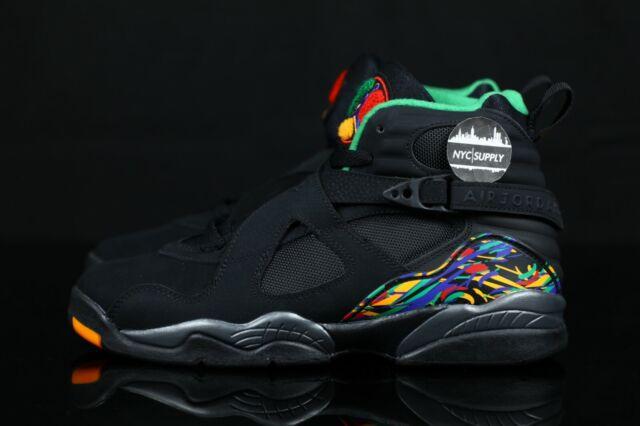 Nike Air Jordan 8 Retro Black Youth Kids Boys Shoes Size 4y 305368-004