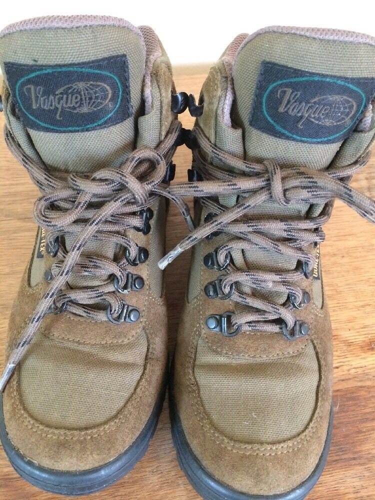WOMENS VASQUE GORE-TEX HIKING TRAIL BOOTS TAN BROWN SUEDE LEATHER SZ 7.5