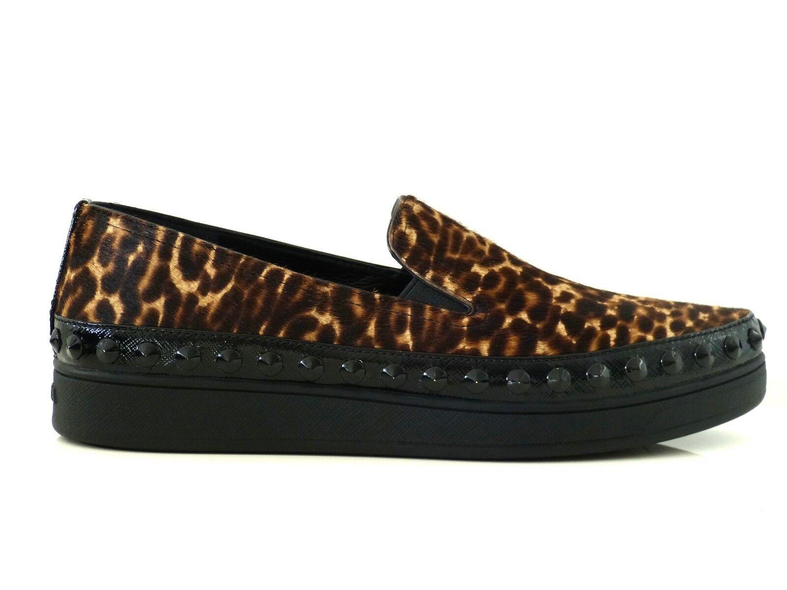 Prada Chaussures Baskets Slipper echtfell chaussures real fur léopard eu 39, 5 Neuf New