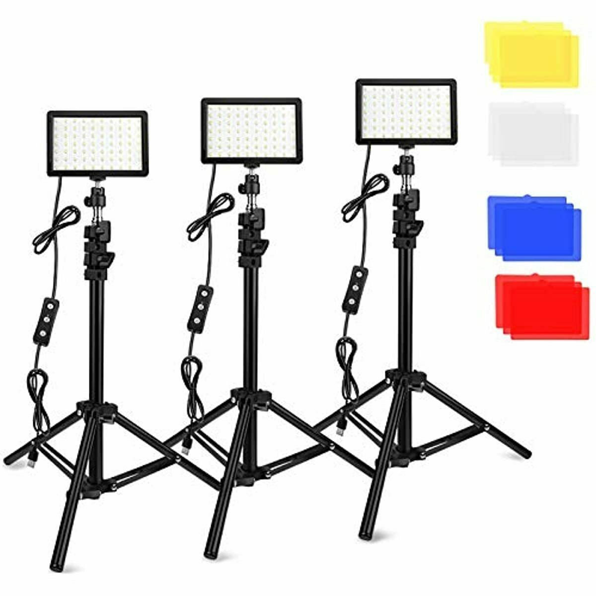 3 Packs 70 LED Video Light with Adjustable Tripod Stand/Color Filters, Obeamiu 5