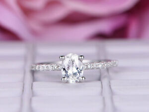 0.90 Ct Oval Cut Moissanite Engagement Ring 14K Bridal Solid White Gold Size 5