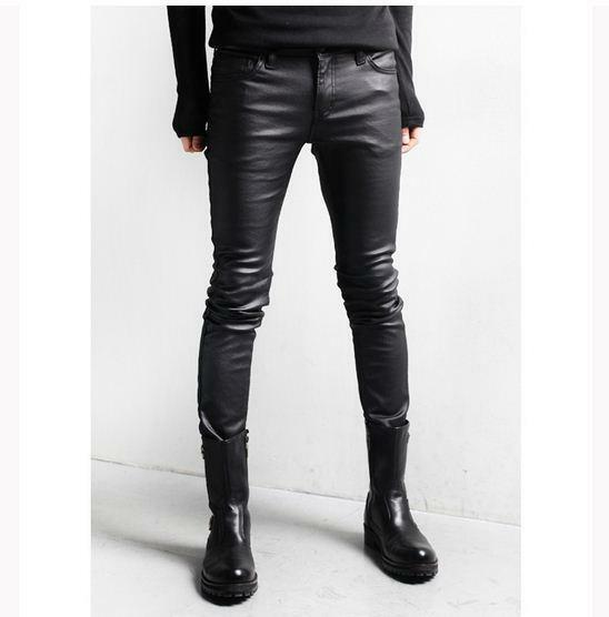 Mens casual punk gothic slim fit fashion elastic faux leather pants trousers