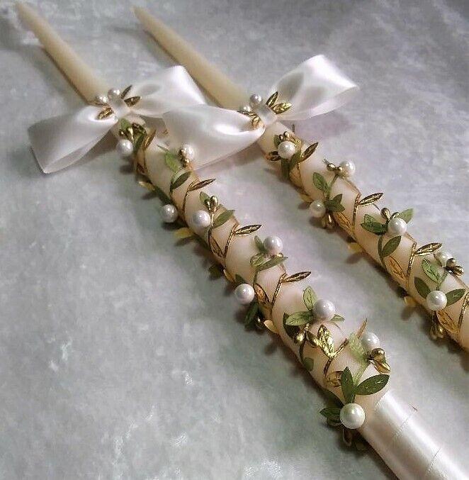 2  24  Leaf Wrapped Greek Orthodox Lambathes Lambade Wedding Baptism Candles