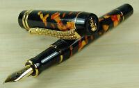 Crocodile Amber  Marble Celluloid Fountain Pen 22KGP Medium Nib Alligator Clip