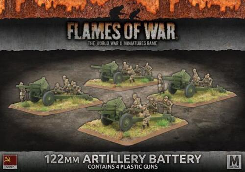 Flames of War Russian 122mm Artillery Battery 4 Guns SBX49 Soviet Battlefront