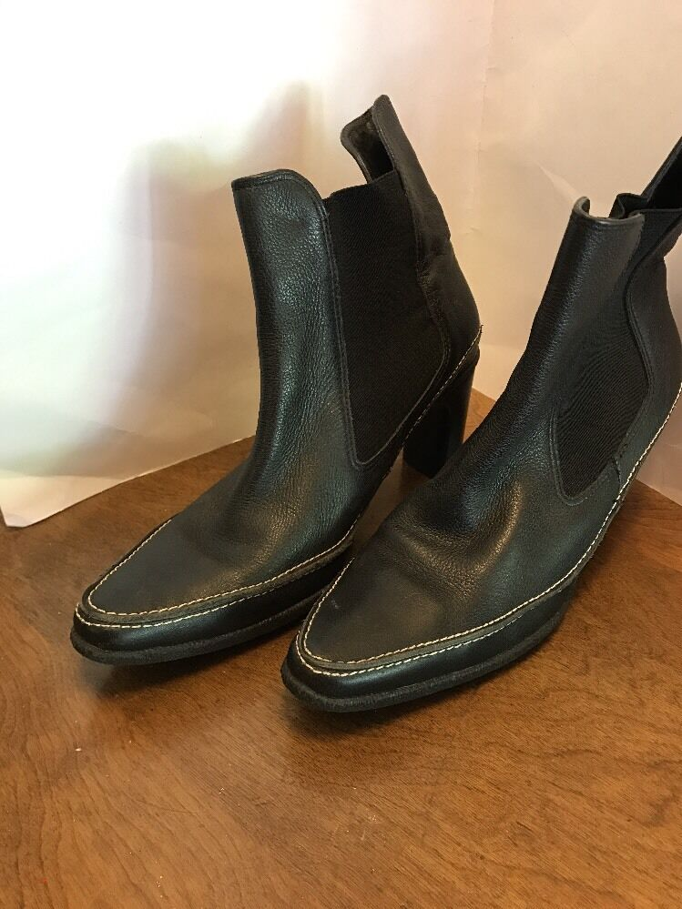 Art Effects Parma Black Leather High Heel Bootie Ankle Boots Brazil 9.5 Gore