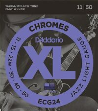 D'ADDARIO CHROMES ECG24 FLATWOUND JAZZ LIGHT 11-50 ELECTRIC GUITAR STRINGS 2 PAk