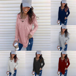 Blouse-Loose-Long-Sleeve-Casual-V-Neck-Women-Tunic-Strappy-Tops-T-Shirt