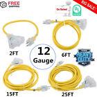 LOT 12 Gauge Heavy Duty Lighted Extension Cords 3-Outlet SJTW Indoor / Outdoor