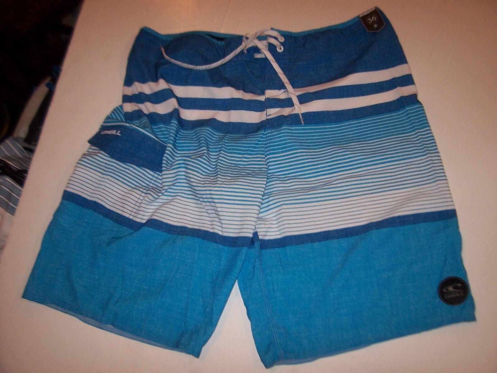 New O'NEILL board shorts HYPERFREAK Heist white bluee turquoise 36 full length