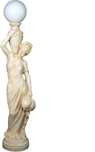 Antique Style Personnage Immense Comme La Vie Avec éclairage Lampadaire Lampe Lampes Lampe Stand-afficher Le Titre D'origine Une Large SéLection De Couleurs Et De Dessins