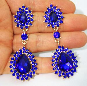Blue-Chandelier-Earrings-Rhinestone-Crystal-2-8-inch-Pageant-Bridal-Drag-Prom