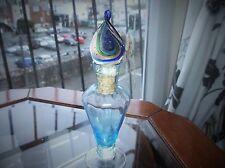 VINTAGE BLUE ART FACETED GLASS PERFUME BOTTLE TWIST SWEET STOPPER CORK UV GLOW