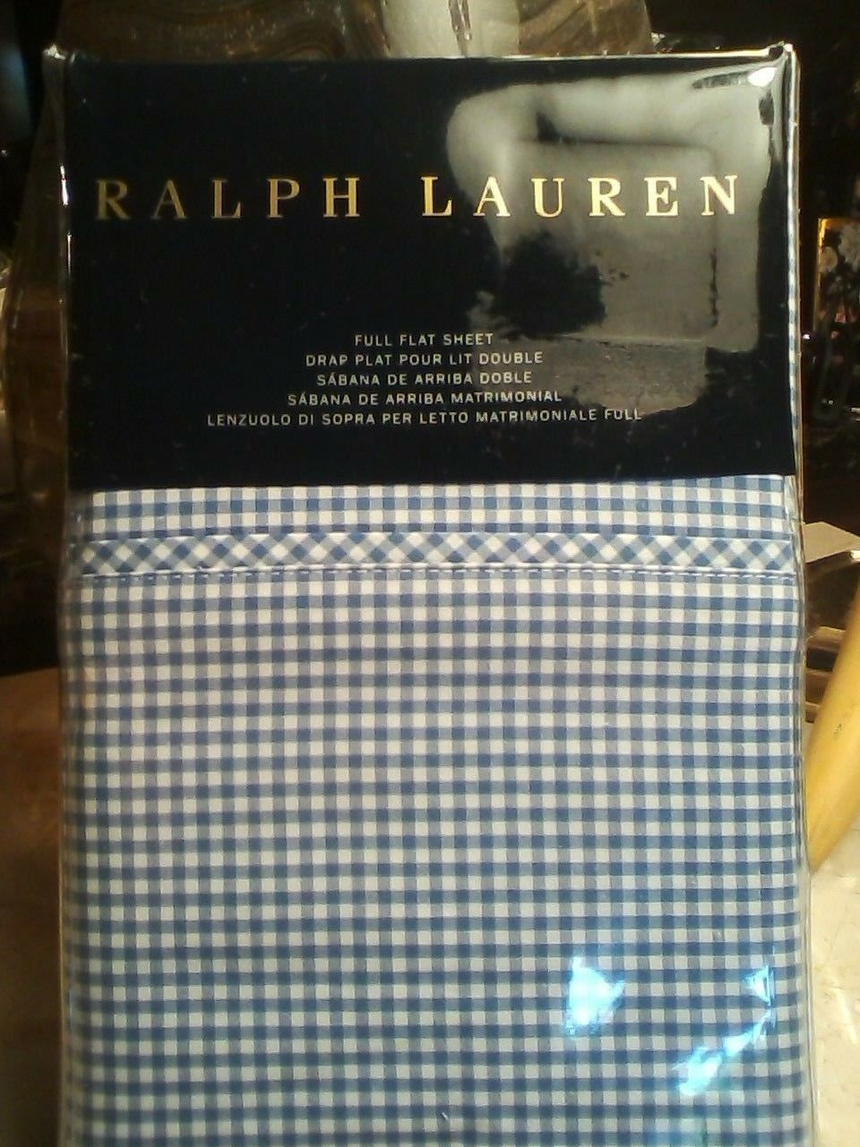 RALPH LAUREN bluee Label Classic Gingham Full Flat Sheet MSRP    130.00