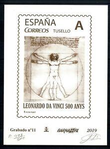 Grabado-Barnafil-2019-n-11-Leonardo-Da-Vinci-500-ejemplares-sellos-Espana