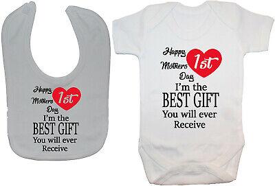 Happy 1st Mothers Day Babygrow Romper Bodysuit Vest 0-24m Boy Girl Mummy Gift