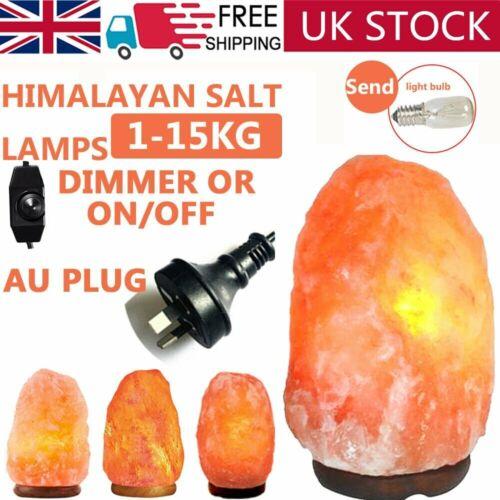 Himalayan Natural Salt Lamp Crystal Pink Nightlight Desk Healing Ionizing 1-15KG
