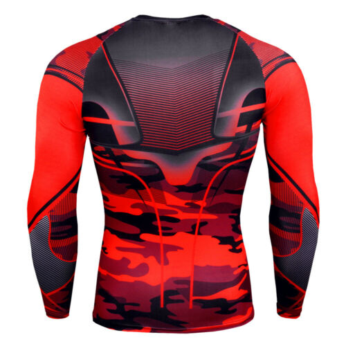 Mens Compression Under Shirt Tops Long Sleeve Gym T Shirts Tights Athletic Wear