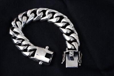 15 mm solid 925 Sterling Silver Men/'s Léopard Lien biker bracelet jonc S1400