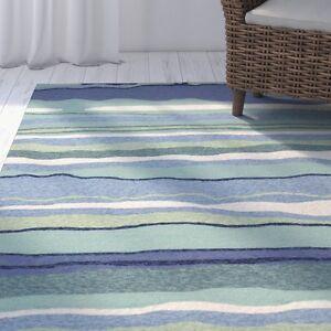 5x8 5 X 7 6 Quot Tropical Coastal Beach Stripe Blue Green