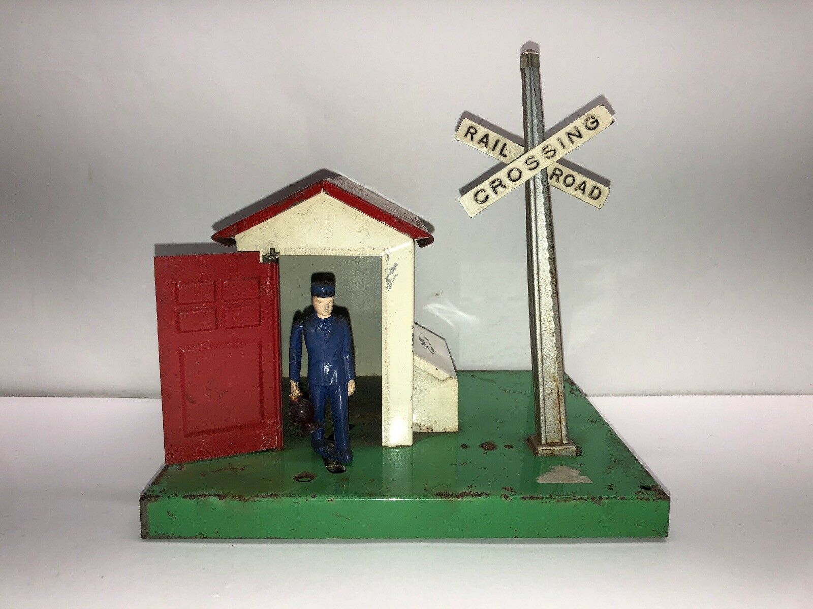 Vintage German Railroad Crossing With Moving Conductor- Untested