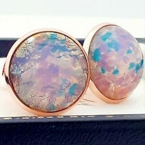 Vintage-Milky-Pink-Gold-Glass-Fire-Opal-Large-Round-Rose-Gold-tone-Cufflinks