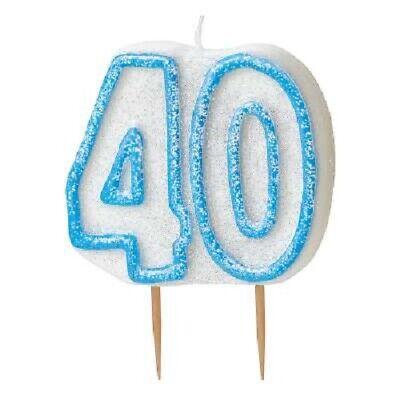 8cm Blue Glitz 90 Candle Mens 90th Birthday Party Cake Decoration Supplies Boys