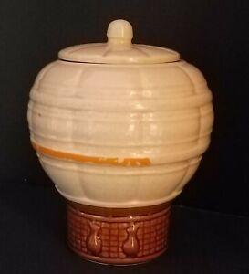 """Vintage McCoy Tan Speckled Hot Air Balloon #353 Ceramic Cookie Jar 9"""""""