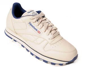 Details zu REEBOK Mens Classic Leather Schuhe Herren Freizeit Fitness Sneaker ecrunavy