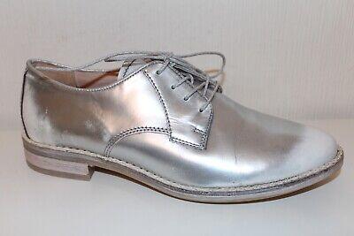 Flight Tracker Mjus Schnürschuhe Leder Lace Up Brogues Schuhe Halbschuhe Metallic 40 Silber Uk7