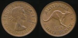 Australia-1954-p-Halfpenny-1-2d-Elizabeth-II-almost-Uncirculated