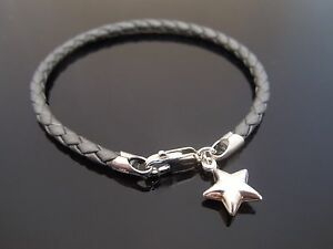 3mm Grey Braided Leather Bracelet 925 Sterling Silver Puff Star ...
