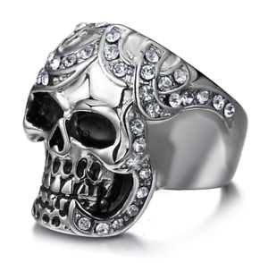 Men/'s Stainless Steel 316L Silver CZ Skeleton Skull Cast Biker Ring and Band