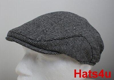 MENS TWEED WOOL FLAT CAP BROWN WHITE Herringbone 58CM M NEW