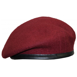 BRITISH-ARMY-MAROON-OFFICERS-SILK-LINED-SMALL-CROWN-BERET-PARA-AIRBORNE-FORCES