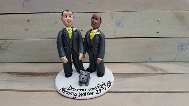 Personalised wedding cake topper de même Sexe, Unique Fait Main Keepsake Argile Keepsake Main ec389f