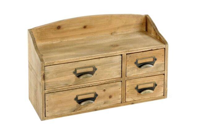 Shabby chic petits en bois pour poitrine de 4 tiroirs de rangement marron