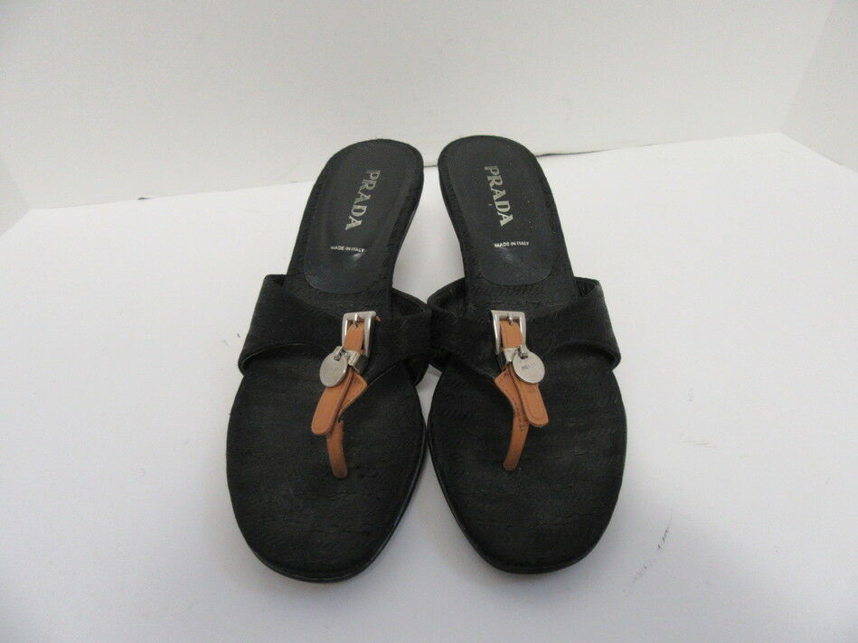 PRADA BLACK FABRIC MULES KITTEN HEELED MULES FABRIC WITH PRADA LOGO SIZE 37 69a4d8
