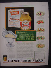 1925 French's Mustard Cream Salad Food Great Full Color Vintage Print Ad 11828