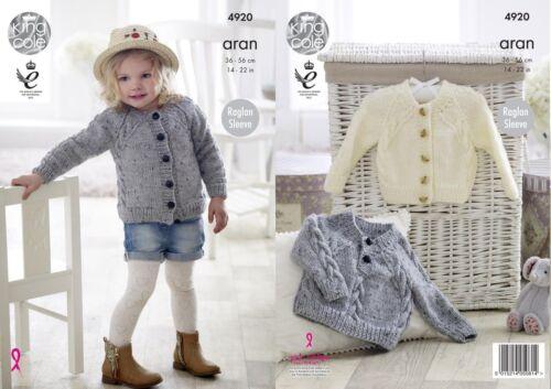 "King Cole Aran  Knitting Pattern 4920 Cardigan /& Sweater 14/""-22/"""