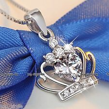 925 Sterling Silver 3D Heart Crown Pendant Necklace Gift for Her Girlfriend Wife