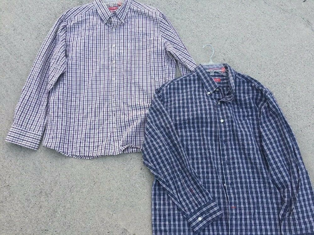 SALE @ IZOD SALTWATER Plaid + Slim Fit PURPLE PLAID Dress Casual Shirt Men Sz XL