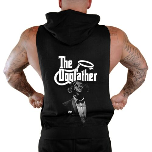 New Men/'s The Dogfather Black Sleeveless Zipper Hoodie Vest Funny Labrador Dog