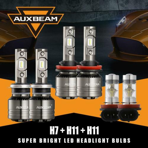 AUXBEAM H7+H11+H8//H11 Canbus LED Headlight Fog Bulbs Kit for Ford Fusion 06-2018