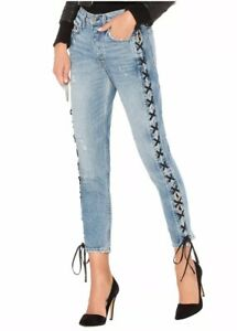 NWT-248-GRLFRND-Karolina-High-Rise-Skinny-Jean-Sz-24-Imperial-Wash-Lace-Up-Side