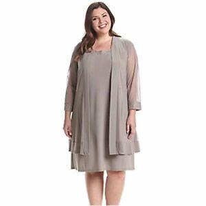 Details about R&M Richards Women\'s Plus Size Embellished Shift Dress & Mesh  Jacket (Taupe, 1X)
