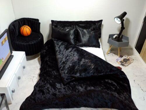 1//6 scale doll size bedding set for barbie dolls black velvet