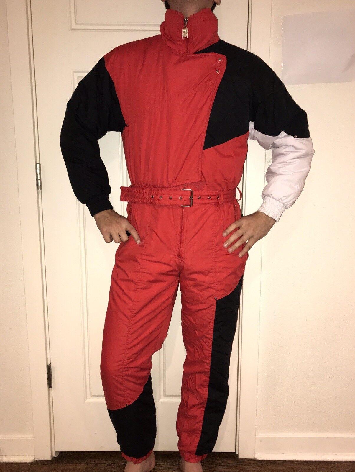 Vtg 80s Red SKI GEAR Womens MEDIUM One Piece  Apres SKI SUIT Snow Bib Snowsuit  save up to 30-50% off